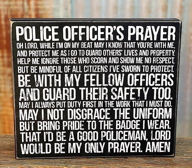 Police Officers Prayer Box Sign,33801
