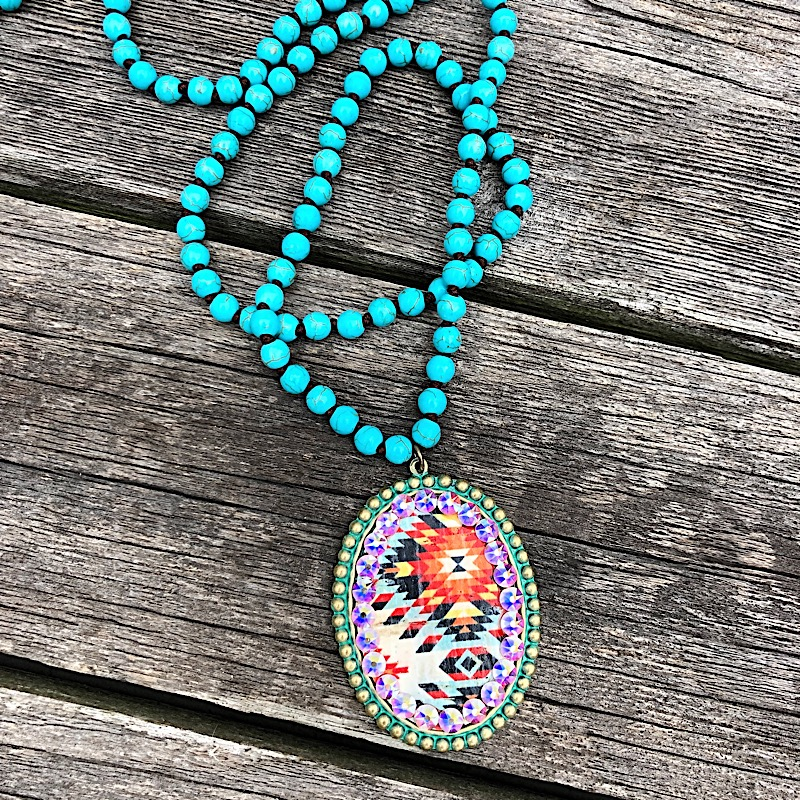 Olivia Long Necklace,1N335-PATINA/AZTEC