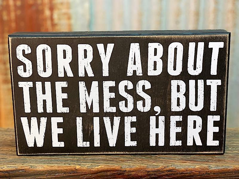 We Live Here Box Sign,19477