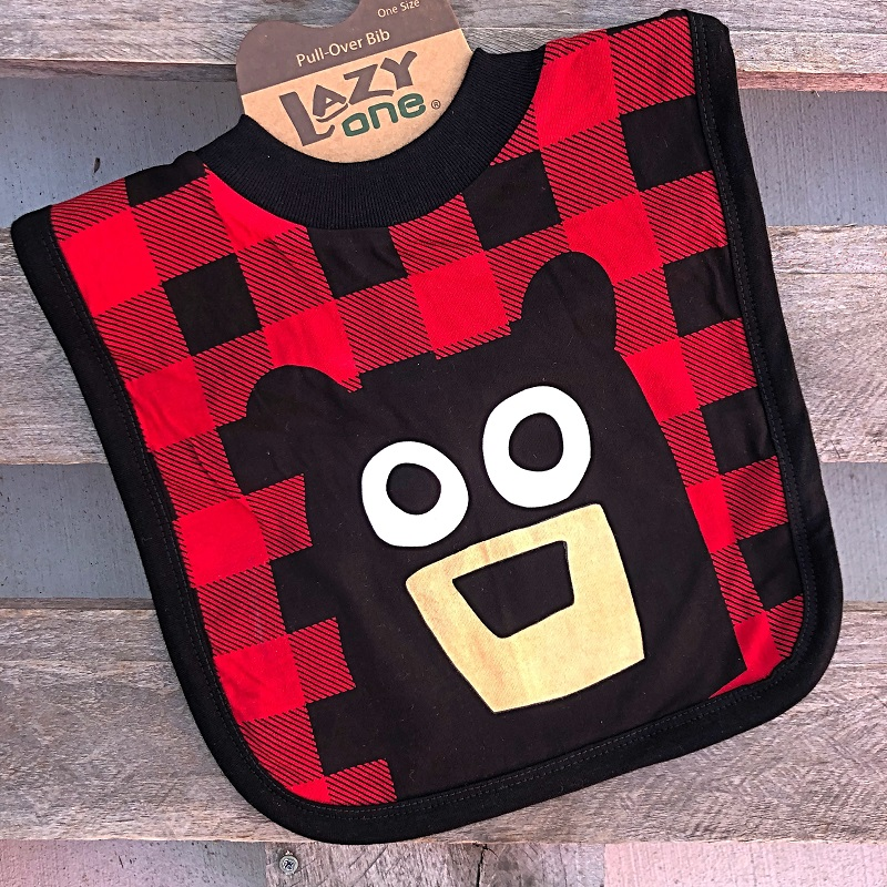 Bear Plaid Feeding Bib,IB358