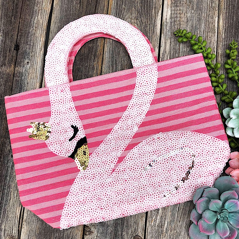 Pink Swan Sequin Tote,10300006-PINK
