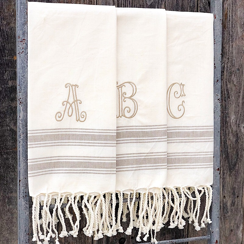 Initial Turkish Hand Towel,41500020-A