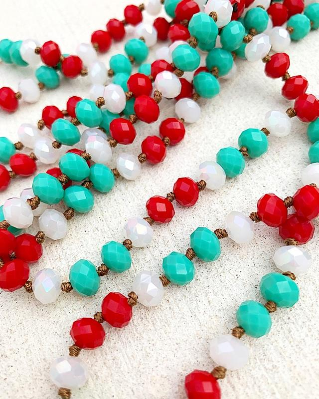 "Turquoise/Red/White Brea 60"" Beads,BREA-TQ/RD/WHT"