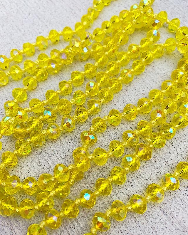 "Clear Yellow Brea 60"" Beads,BREA-CLRYELL"