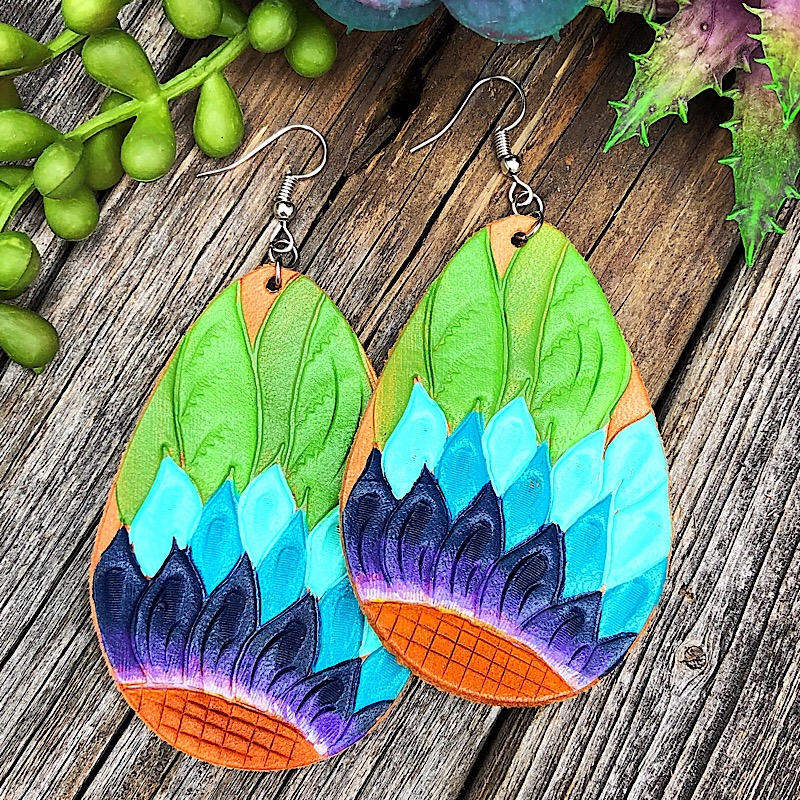 Blue Sunflower Earrings,ER-50