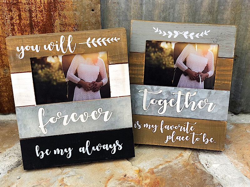 Wood and Tin Photo Frame 4x6,18458-FOREVER