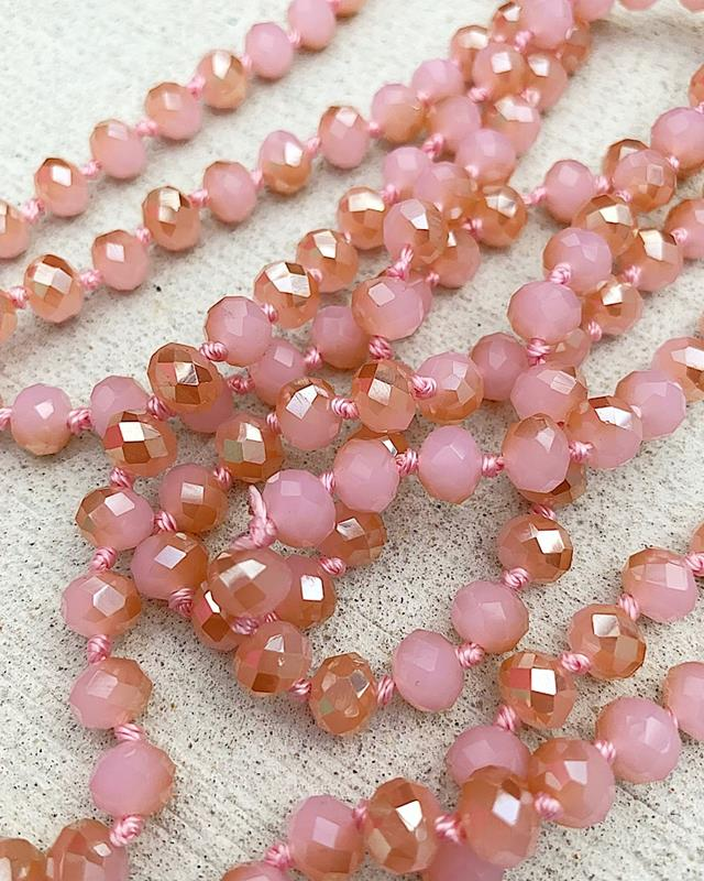 "Peach/Pink Mix Brea 60"" Beads,BREA-PEACH/PINK"