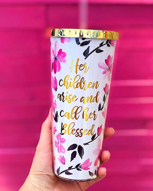 Call Her Blessed Straw Tumbler,25495