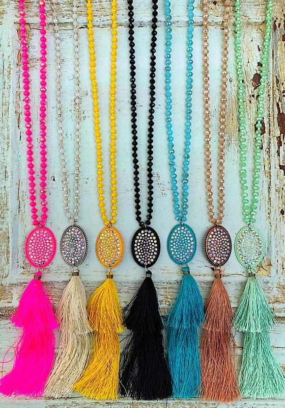 Take Me Out Tassel Necklace,TAKEME-TURQUOISE