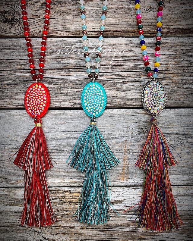 Take Me Out Tassel Necklace,TAKEME-RED