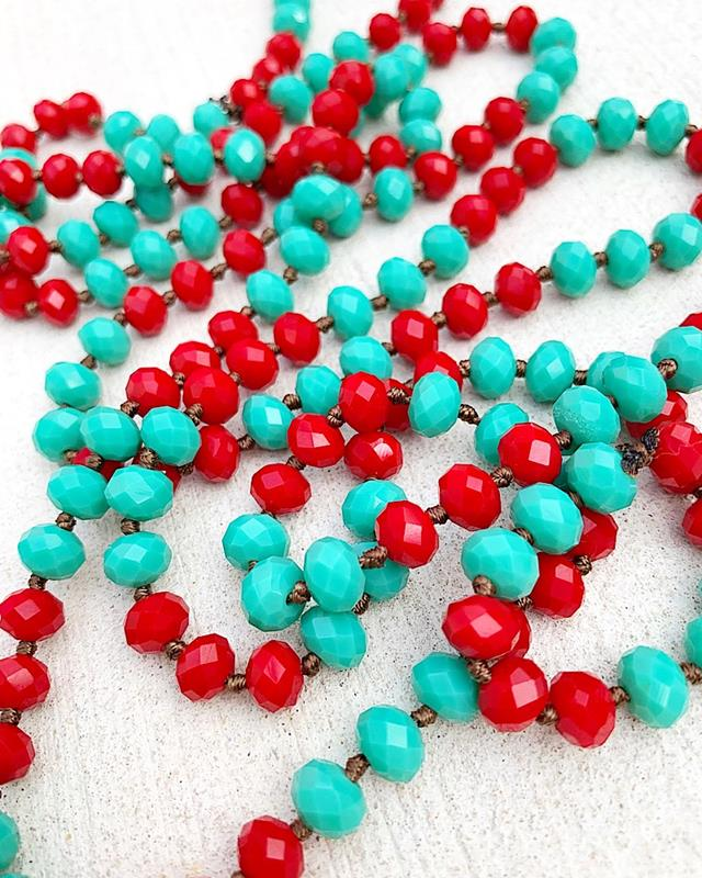 "Turquoise/Red Brea 60"" Beads,BREA-TURQ/RED"