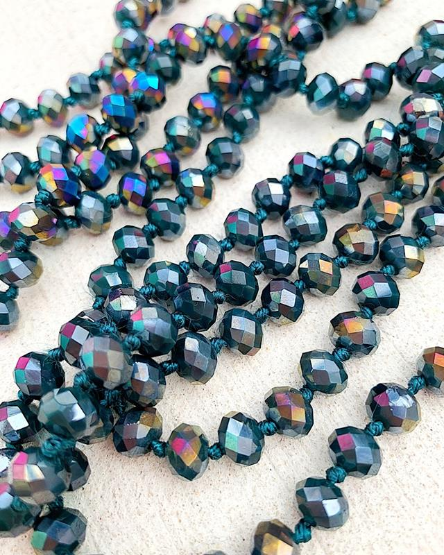 "Dark Teal Rainbow Mix Brea 60"" Beads,BREA-DKTEALRAINMIX"