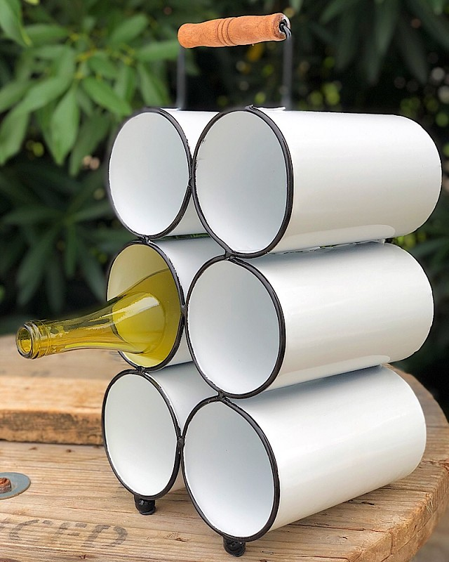 Black & White Enamel Wine Bottle Holder,167892