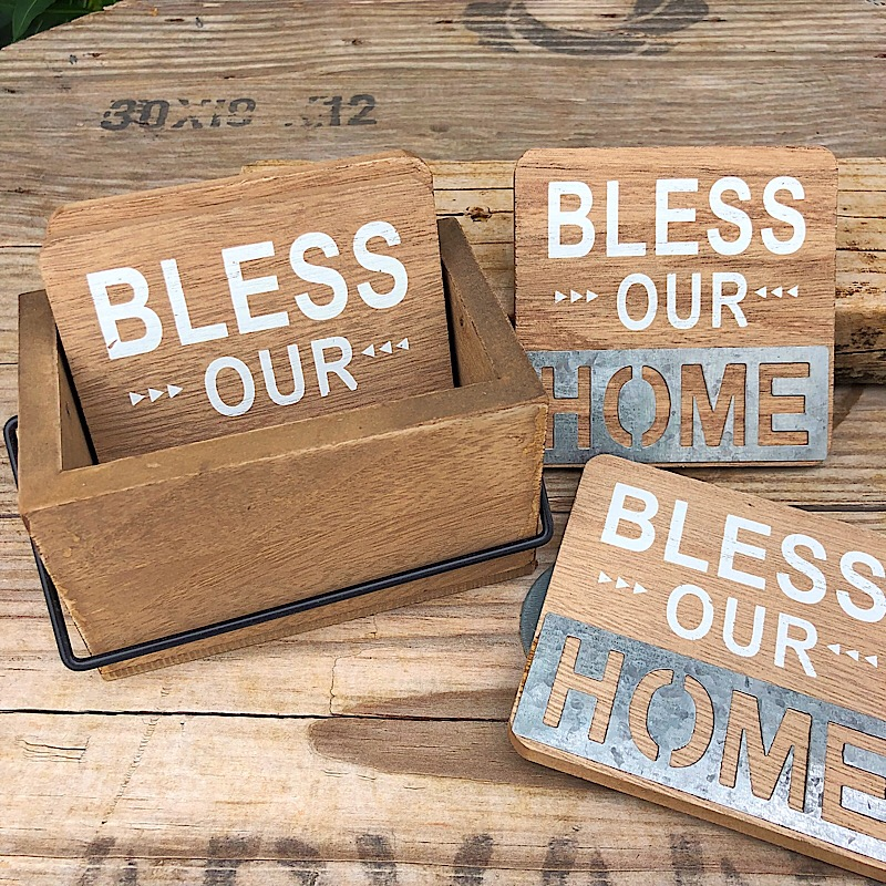 Bless Our Home Coaster Set With Caddy,83941