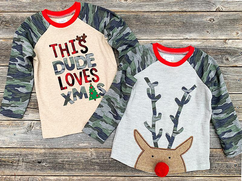 Camo Christmas Thermal Tee,15100028-DUDE-2T/3T