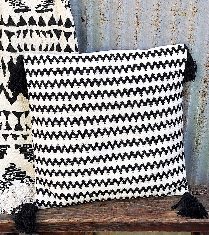 Chevron Woven Pillow With Tassels,29603