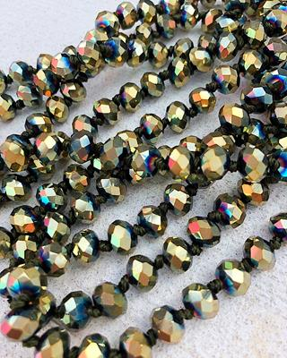 "Gold/Olive Mix Brea 60"" Beads,BREA-GOLD/OLIVE"