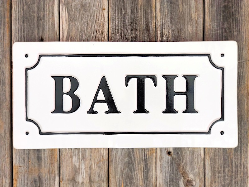 Black & Whte Enamel Bath Sign,168299