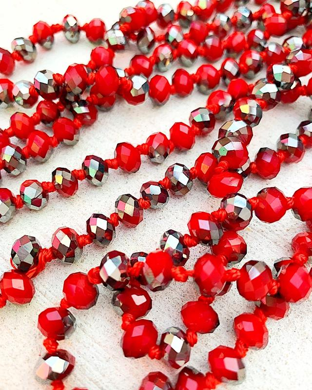 """Red/Pewter Mix Brea 60"""" Beads,BREA-RED/PEWTER"""