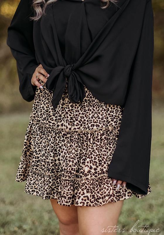 Leopard Layers Skirt,4764-SMALL