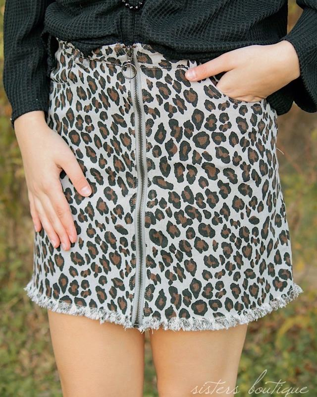 Gia Leopard Skirt,SKS2492-SMALL