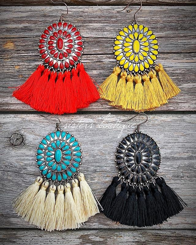 Carly Concho Earrings,CARLYCON-ER-BLACK