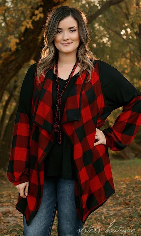 Evie Red Plaid Vest,T1133-RED-1XL