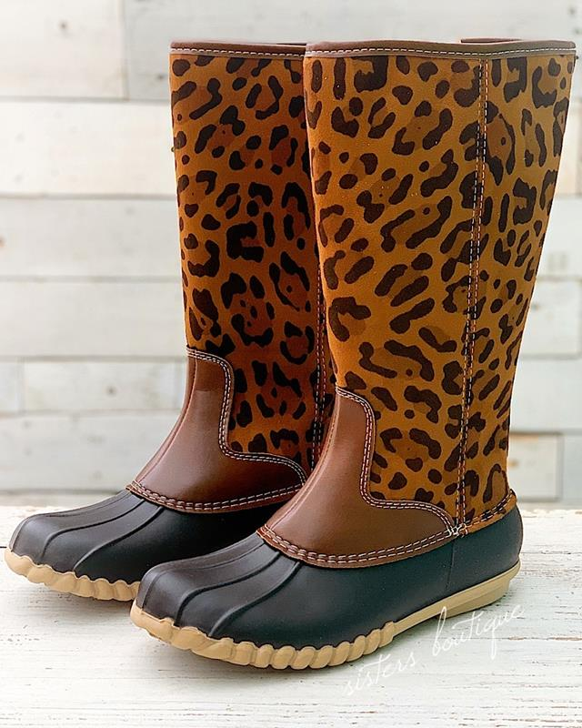 Leopard Duck Boots,AUTO-21-6