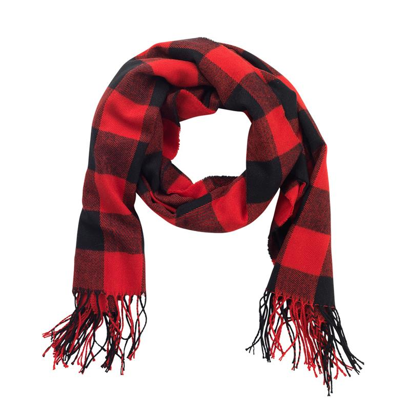 Red Buffalo Check Adaline Scarf,PLAID SCARF-RED