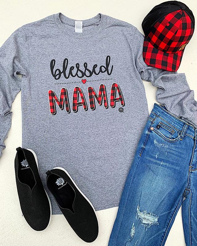 Blessed Mama Longsleeve T-Shirt,BLESSEDMAMA-SMALL