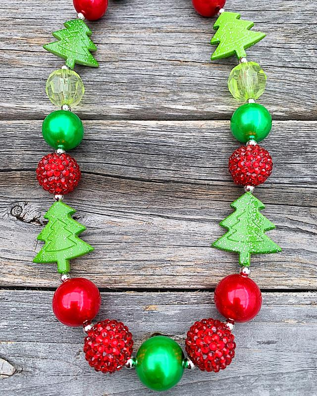 Christmas Tree Beaded Necklace,XMASTREENECK