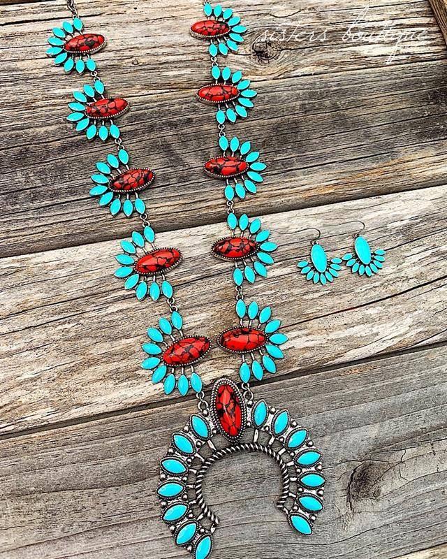 Peta Turquoise & Red  Necklace Set,PETA-TQ/RED-NSET