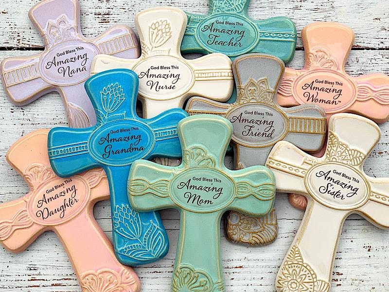Amazing Pottery Wall Cross,579-DAUGHTER