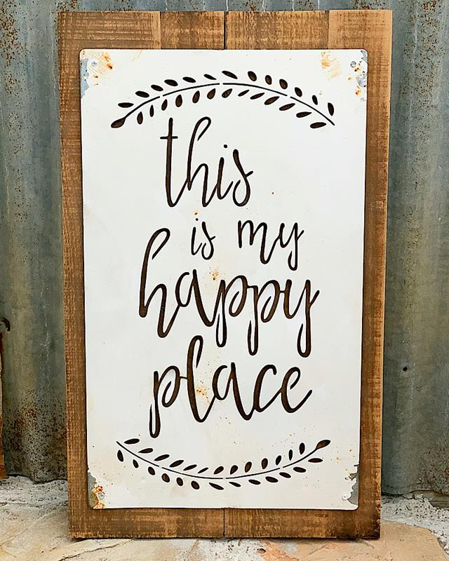 Happy Place Wood Sign With Metal Overlay,16000-HAPPY