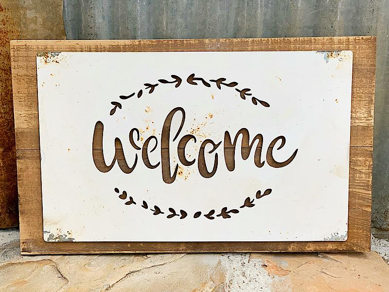 Welcome Wood Sign With Metal Overlay,16000-WELCOME