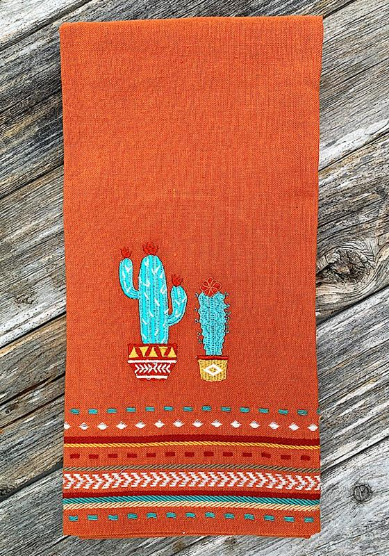 Cactus Embroidered Dish Towel,91421