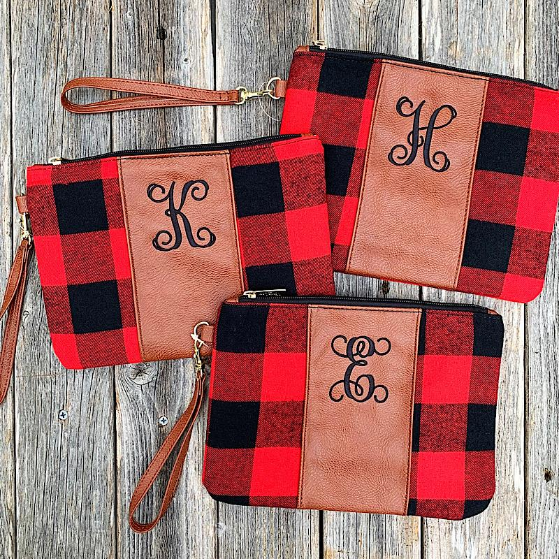 Red Buffalo Initial Wristlet,RED/BLK-INI-R