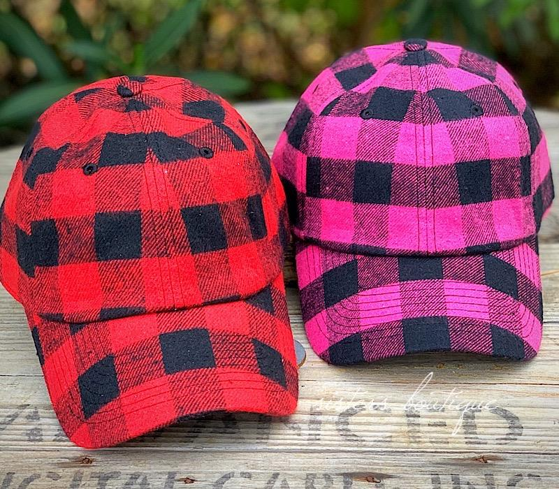Buffalo Plaid Cap,BUFFCAP-RED