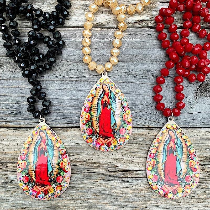 Our Lady Teardrop Necklace,OLTDRP-MAROON
