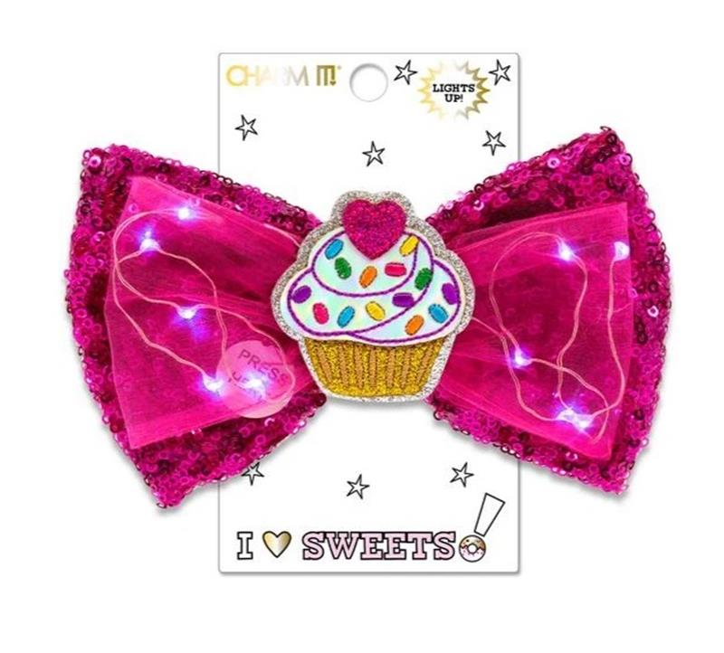 Sweets Cupcake LED Sequin Bow,CIBOW3