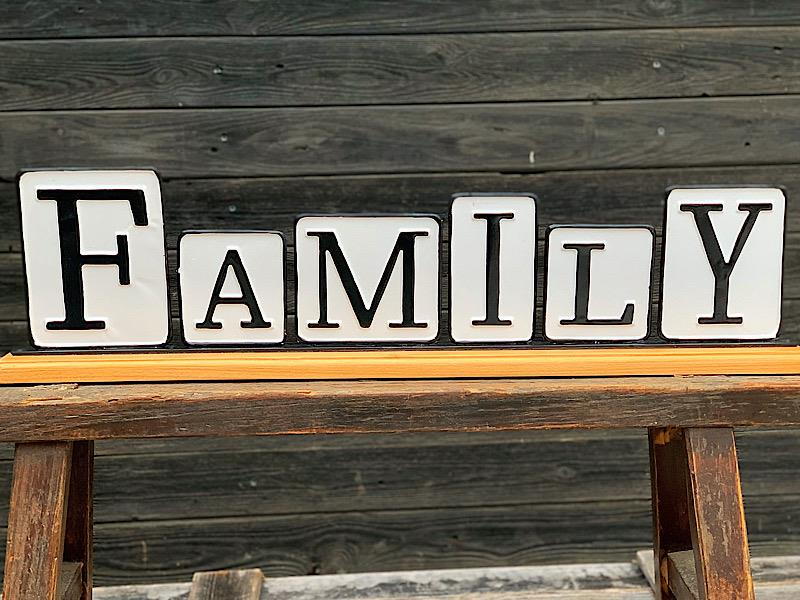 Family Enamel & Wood Tabletop Sign,FH1886