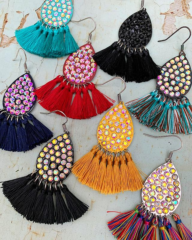 Kishma Tassel Earrings,KISHMAT-ER-BLK/AB
