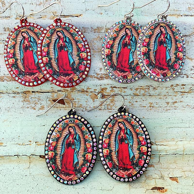 Our Lady Oval Earrings,OURLADYOVAL-BLK