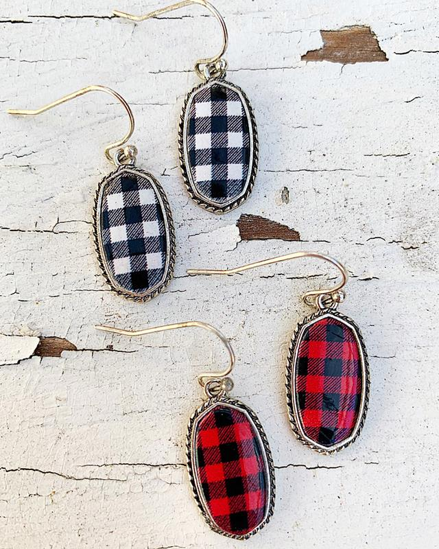 Mad for Plaid Earrings,MAD4PLAID-RED-ER