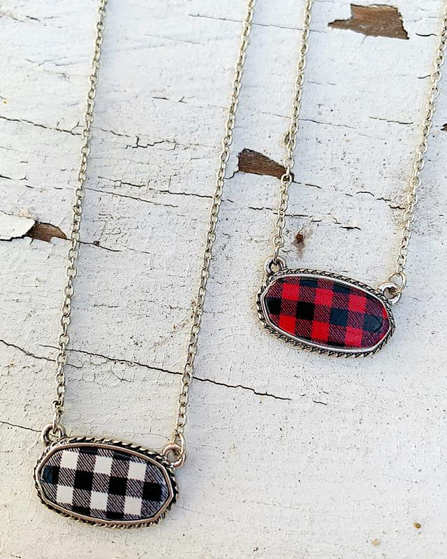 Mad for Plaid Necklace,MAD4PLAID-RED-NK