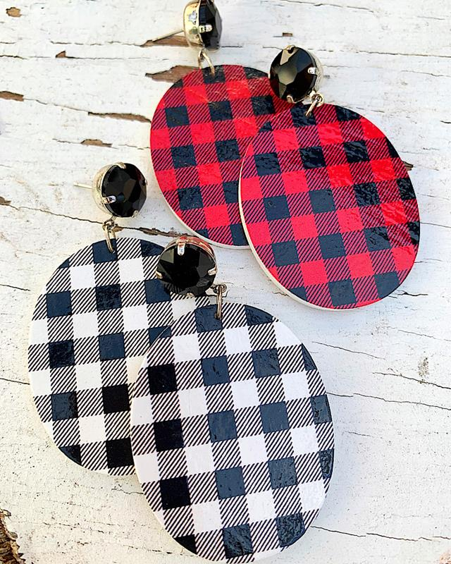 Penny Plaid Earrings,PENNYPLAIDER-RED