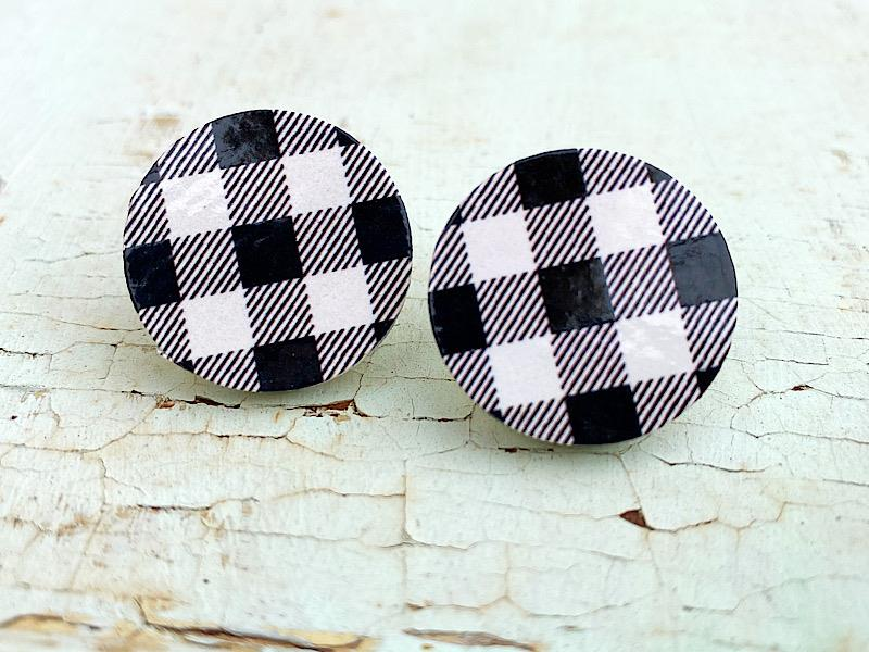 Mod Plaid Earrings,MODPLAIDER-WHITE