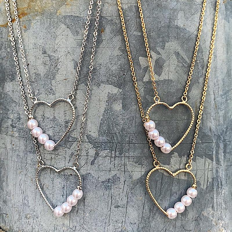 Pearly Heart Necklace,PEARLYHRTNK-SILVER