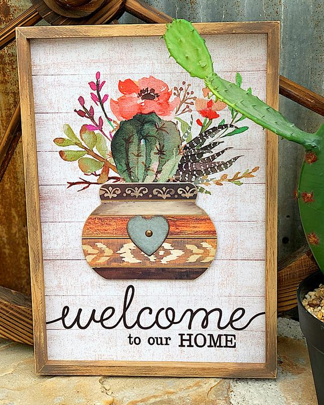 Welcome To Our Home Cactus Sign,ER60101