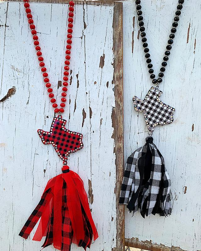 Texas Plaid Necklace,TXPLDNK-RED/BLK